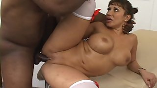 Glamorous Nurse with Big Tits Enjoys in Interracial Sex