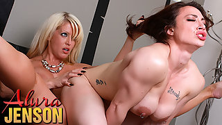 Muscular Brunette Brandi Mae with Big Boobs Getting Strapon Railed by Alura Jenson