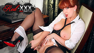Stockings Wearing Redhead Slut Rubbing and Toying Her Wet Pussy with Stimulation