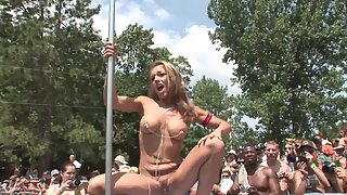 Naughty Lusty Babes Nakedly Dancing and Teasing to Public