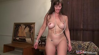 Brunette MILF with Big Tits Masturbate at Home with Big Dildo