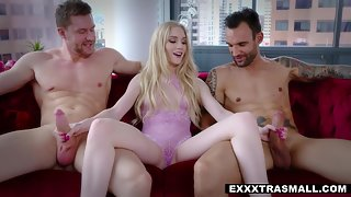 Amazing Blonde Emma Starletto with Big Butt Getting Rammed in Threesome Sex