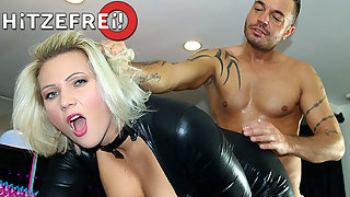 Bubble Ass Blonde Fucked Hard by Tattooed Dude From Behind