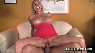 Blonde Cougar in Passionately Swallows Big Curved Penis Before Taking it From Behind