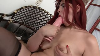 Redhead MILF with Big Tits Fucking her Mature Pussy with Dildo