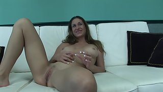 Hottest Sexy Beauty with Smiling Face Spreading and Pleasing Moist Clit