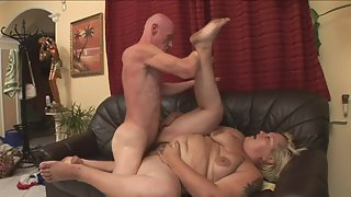 Blonde MILF Gets her Yummy Pussy Banged on Sofa