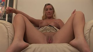 Buxom Blonde Lady Shows Big Bosoms and Spreads Pink Twat