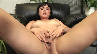 Wonderful Babe with Big Tits is Fingering Her Shaved Pussy