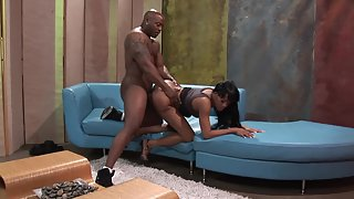 Charming Ebony Teen Gets Her Tight Pussy Banged Hard in Doggy Style